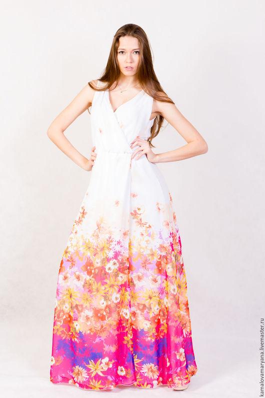Платья ручной работы. Ярмарка Мастеров - ручная работа. Купить Шифоновые платья в пол короткий рукав. Handmade. Комбинированный