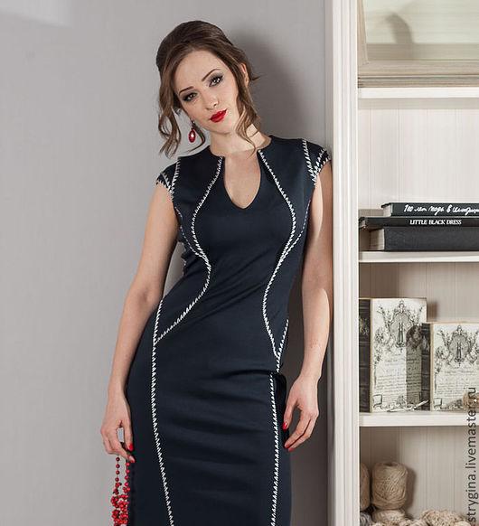 Платья ручной работы. Ярмарка Мастеров - ручная работа. Купить Платье  Fiore. Handmade. Тёмно-синий, итальянские ткани, 14%полиамид