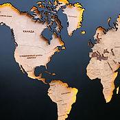 Картины и панно handmade. Livemaster - original item World map with backlight M. Handmade.