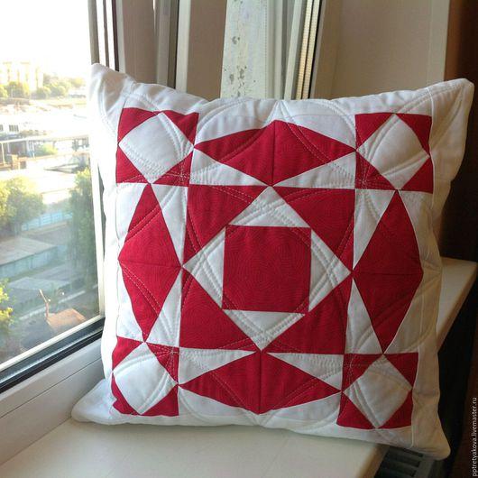 Текстиль, ковры ручной работы. Ярмарка Мастеров - ручная работа. Купить Подушка лоскутная красная белая Панакота. Handmade.