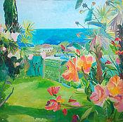 Картины и панно handmade. Livemaster - original item The big picture. Abkhazia. Roses and the sea (3). Handmade.
