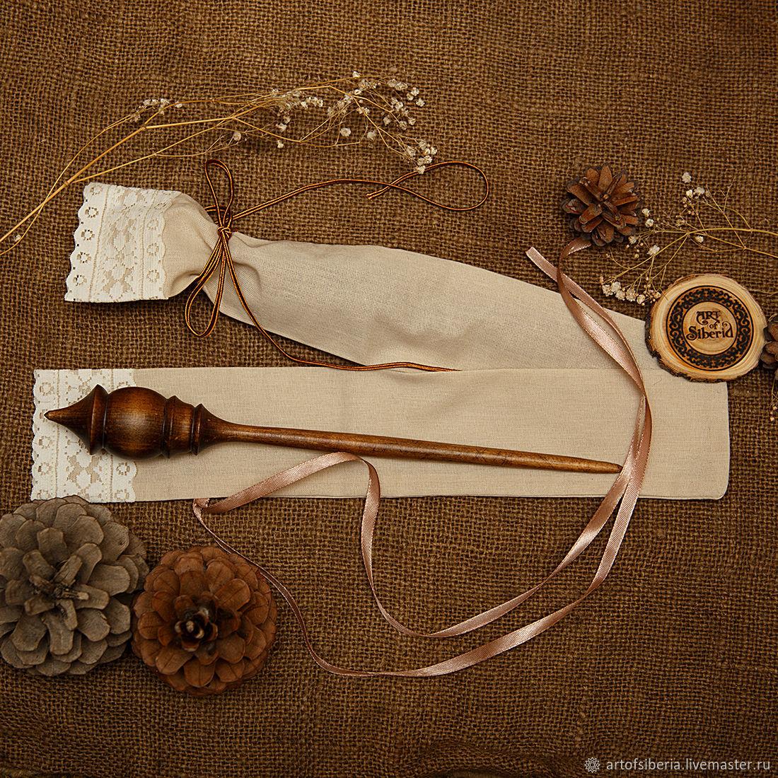Wooden Spindle for Spinning    CASE. Siberian Cedar #B43, Spindle, Novokuznetsk,  Фото №1
