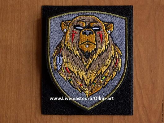 Нашивка `Медведь-индеец` Машинная вышивка. Белорецкие нашивки. Нашивка. Шеврон. Патч. Вышивка. Шевроны.  Патчи. Нашивки. Купить нашивку.
