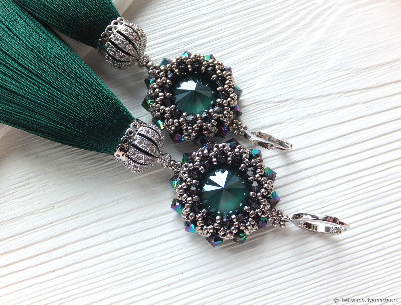 "Серьги - кисти ""Emerald tassels"", Серьги, Москва, Фото №1"