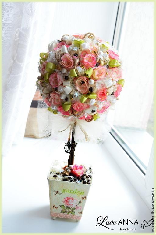Топиарии ручной работы. Ярмарка Мастеров - ручная работа. Купить Топиарий/дерево счастья с розами Garden roses. Handmade. Бежевый