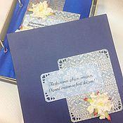 Свадебный салон ручной работы. Ярмарка Мастеров - ручная работа Сберкнижка в сине-белой гамме с коробочкой. Handmade.
