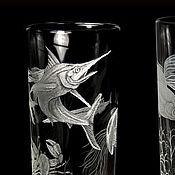 Посуда handmade. Livemaster - original item Glasses set 6 PCs, the life aquatic, engraved glass. Handmade.