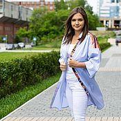 Одежда handmade. Livemaster - original item Author`s Dress shirt cotton blue stripe. Handmade.