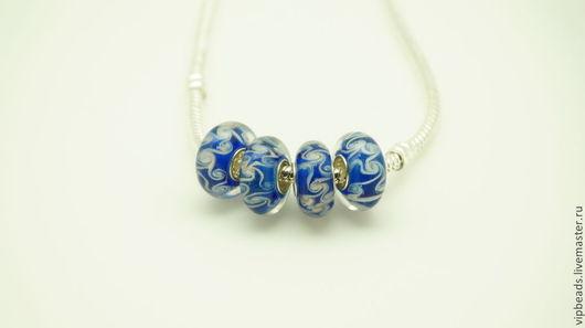 """Для украшений ручной работы. Ярмарка Мастеров - ручная работа. Купить Бусина """"Синее кружево"""" в стиле Пандора. Handmade. Синий"""