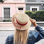 Шляпка с именной вышивкой и натуральным жемчугом