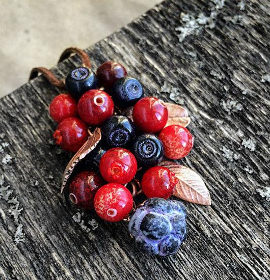 """Кулоны, подвески ручной работы. Ярмарка Мастеров - ручная работа. Купить Кулон lampwork """"Северные ягоды"""". Handmade. Северные ягоды"""