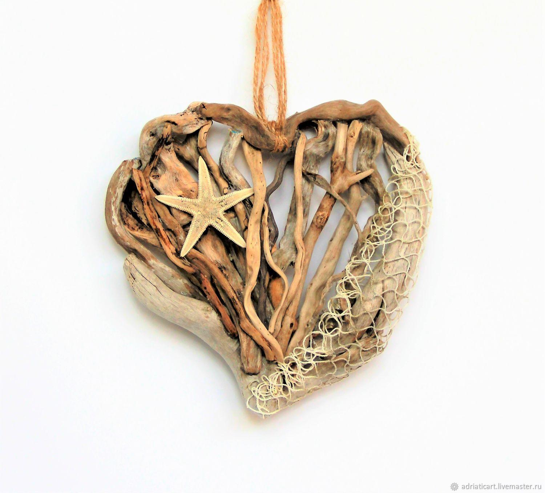 Элементы интерьера ручной работы. Ярмарка Мастеров - ручная работа. Купить Сердце из дерева дрифтвуд с морской сетью Любовь рыбака 17 см. Handmade.