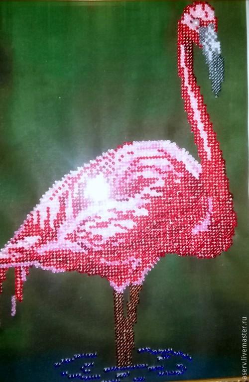 """Животные ручной работы. Ярмарка Мастеров - ручная работа. Купить Картина """"Фламинго!. Handmade. Разноцветный, красивый подарок, фламинго, ткань"""