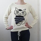 Одежда ручной работы. Ярмарка Мастеров - ручная работа Джемпер с котом. Handmade.