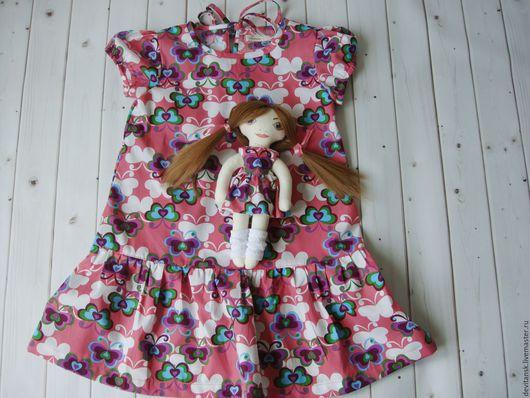 Одежда для девочек, ручной работы. Ярмарка Мастеров - ручная работа. Купить Подарочный набор для девочки: платье и текстильная кукла. Handmade.