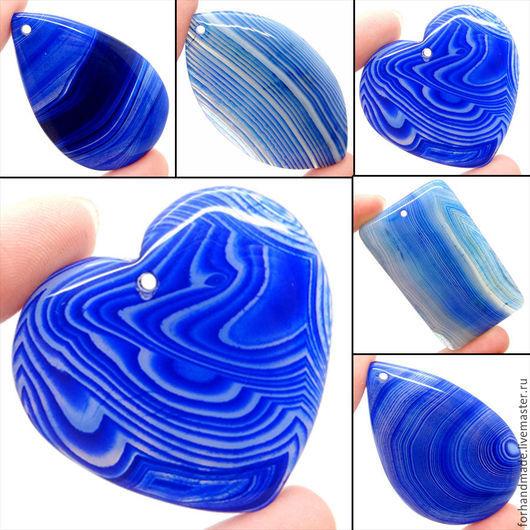 Для украшений ручной работы. Ярмарка Мастеров - ручная работа. Купить 1433 кулон подвеска голубой синий агат. Handmade.