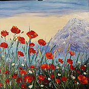 Картины и панно handmade. Livemaster - original item Summer landscape Poppy day. Mountains and poppies. Handmade.