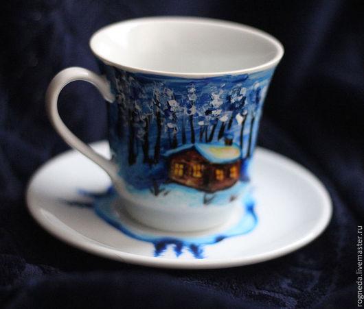"""Новый год 2017 ручной работы. Ярмарка Мастеров - ручная работа. Купить Чайная пара """"Зимняя ночь"""". Handmade. Зима, пейзаж"""