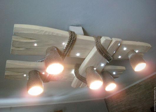 Освещение ручной работы. Ярмарка Мастеров - ручная работа. Купить Деревянная люстра с светодиодными точками и плафонами из каната. Handmade. Белый