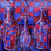 Картины и панно ручной работы. Ярмарка Мастеров - ручная работа Натюрморт с бутылками.. Handmade.