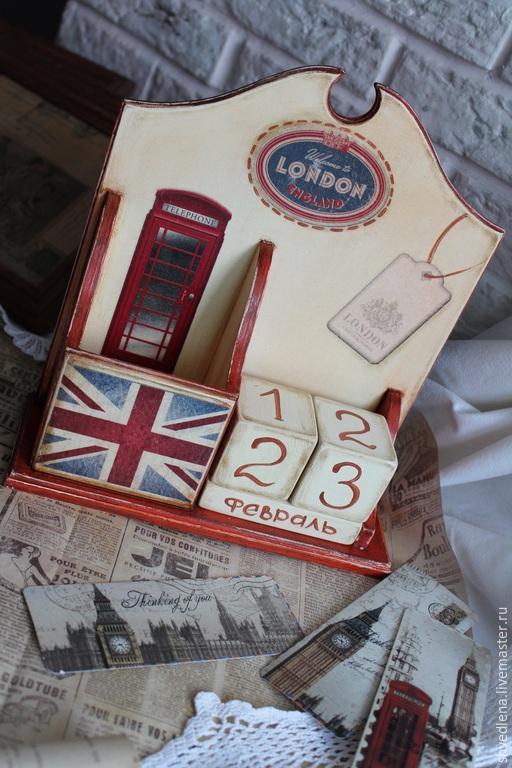 """Календари ручной работы. Ярмарка Мастеров - ручная работа. Купить Календарь-органайзер настольный  """"LONDON"""". Handmade. Бежевый, подарок на новоселье"""