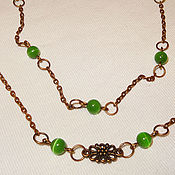 Украшения handmade. Livemaster - original item Chain Forest walk - cat`s eye and copper. Handmade.