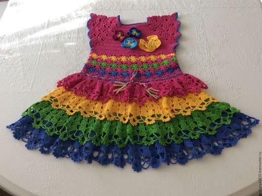 Одежда для девочек, ручной работы. Ярмарка Мастеров - ручная работа. Купить Платье с бабочкой. Handmade. Комбинированный, вязаное платье