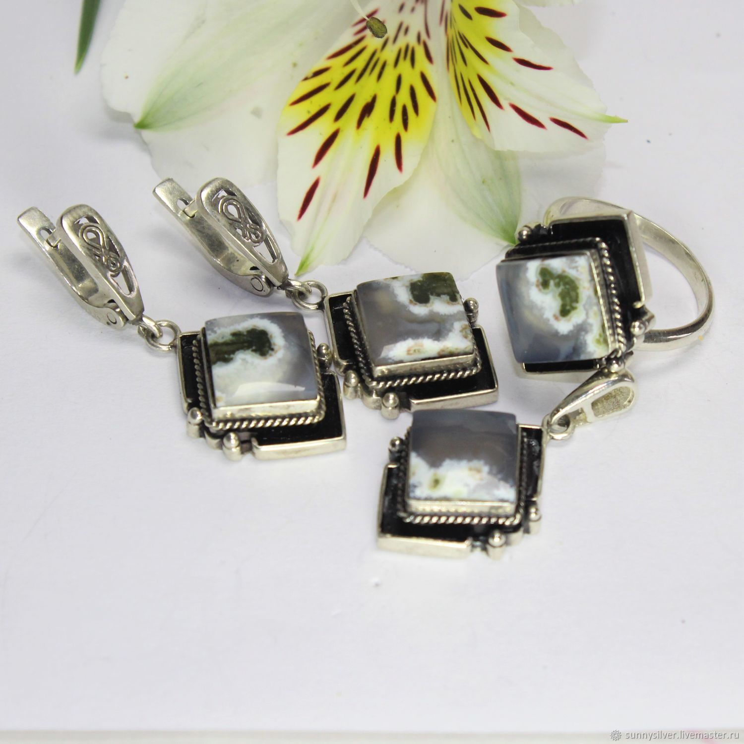 Peyton earrings and ring with agates in 925 sterling silver, Jewelry Sets, Yerevan,  Фото №1