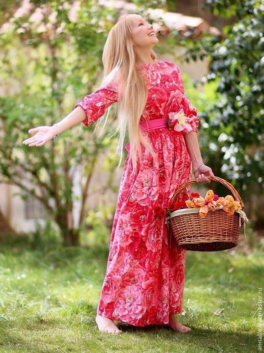 Платья ручной работы. Ярмарка Мастеров - ручная работа. Купить Платье Пионы Хлопок 100%. Handmade. Розовый, платье макси