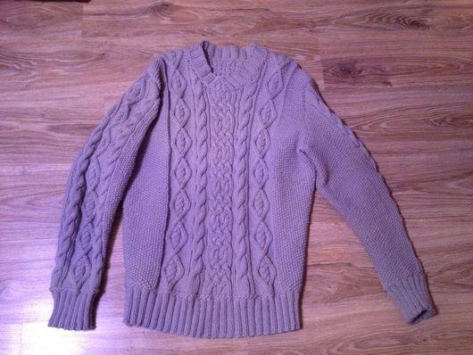 Для мужчин, ручной работы. Ярмарка Мастеров - ручная работа. Купить Теплый серый свитер. Handmade. Мужской свитер