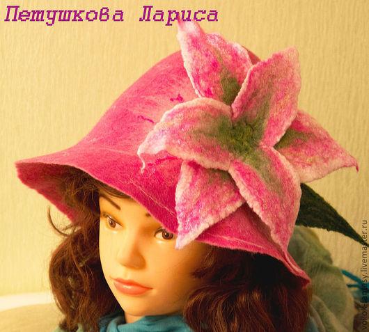 """Банные принадлежности ручной работы. Ярмарка Мастеров - ручная работа. Купить Банная шапочка """"Лилия"""". Handmade. Розовый"""