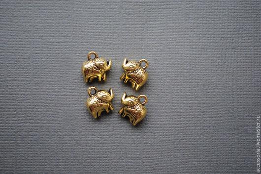 Подвеска Слоник 11 мм. Цвет: античное золото