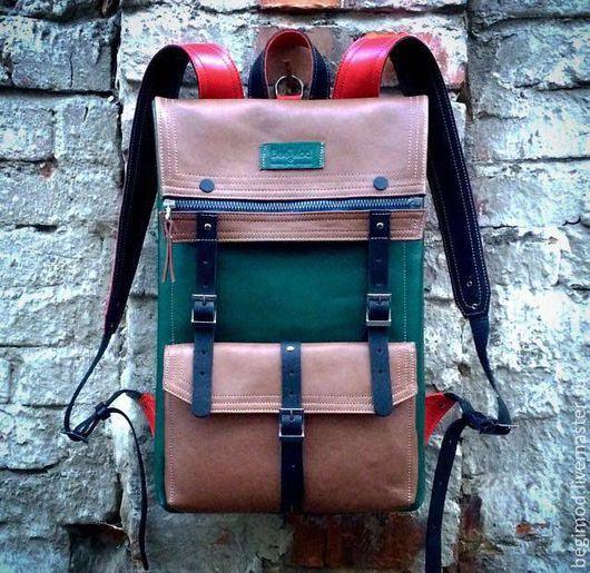 Рюкзаки ручной работы. Ярмарка Мастеров - ручная работа. Купить Рюкзак кожаный двуслойный  Осенний 43х29х8 (7 литров). Handmade.