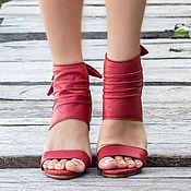 Обувь ручной работы handmade. Livemaster - original item Leather high-heeled sandals Floi. Leather shoes. Handmade.