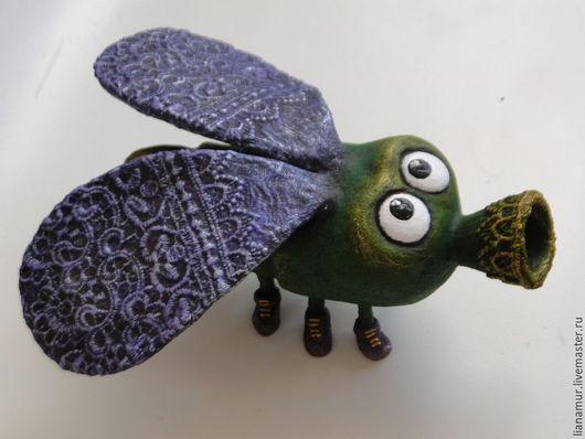 Игрушки животные, ручной работы. Ярмарка Мастеров - ручная работа. Купить Гламурная муха с позолоченным брюхом. Handmade. Муха