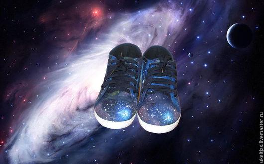 """Обувь ручной работы. Ярмарка Мастеров - ручная работа. Купить кеды """"Космос"""". Handmade. Тёмно-синий, космос, молодёжные кеды"""