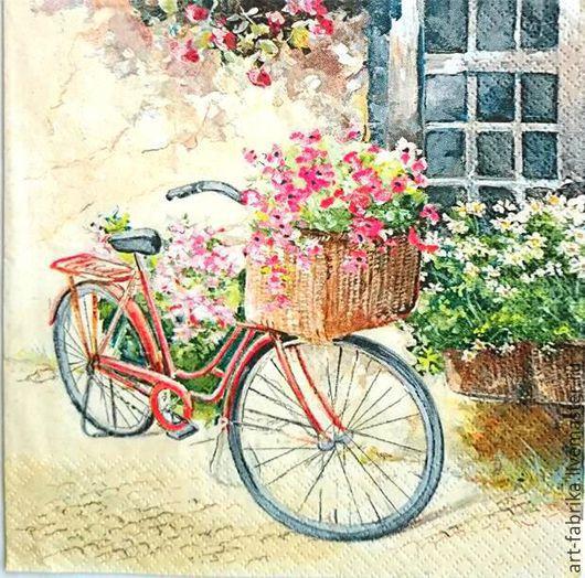 Декупаж и роспись ручной работы. Ярмарка Мастеров - ручная работа. Купить Салфетка велосипед с цветами. Handmade. Комбинированный, салфетки для декупажа