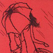 """Картины и панно ручной работы. Ярмарка Мастеров - ручная работа Вышивка крестом """"Пара под зонтом"""". Handmade."""