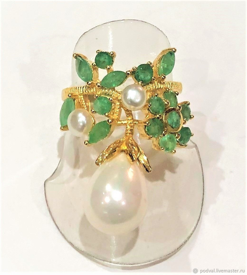 Silver ring with emeralds and pearls ' Sea luxury', Rings, Korolev,  Фото №1