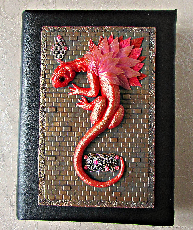 Notepad Red Dragon handmade. Fair Masters - handmade. To buy a notebook with a Dragon. Red dragon. A5 New year 2019. Handmade.  decor polymer clay.