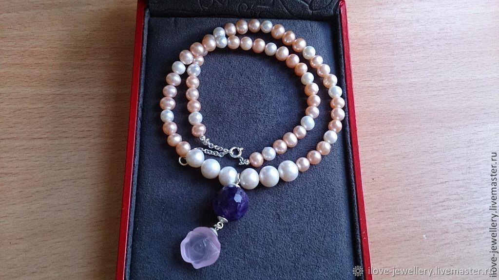 'Violetta ' - a delicate designer silver. pearl necklace, Necklace, Moscow,  Фото №1
