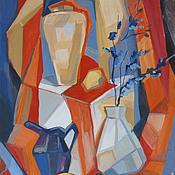 Картины и панно ручной работы. Ярмарка Мастеров - ручная работа Картина. Натюрморт с синими цветами. Handmade.