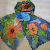 Винтаж handmade. Livemaster - original item Summer scarf with flowers,silk,batik,vintage China. Handmade.