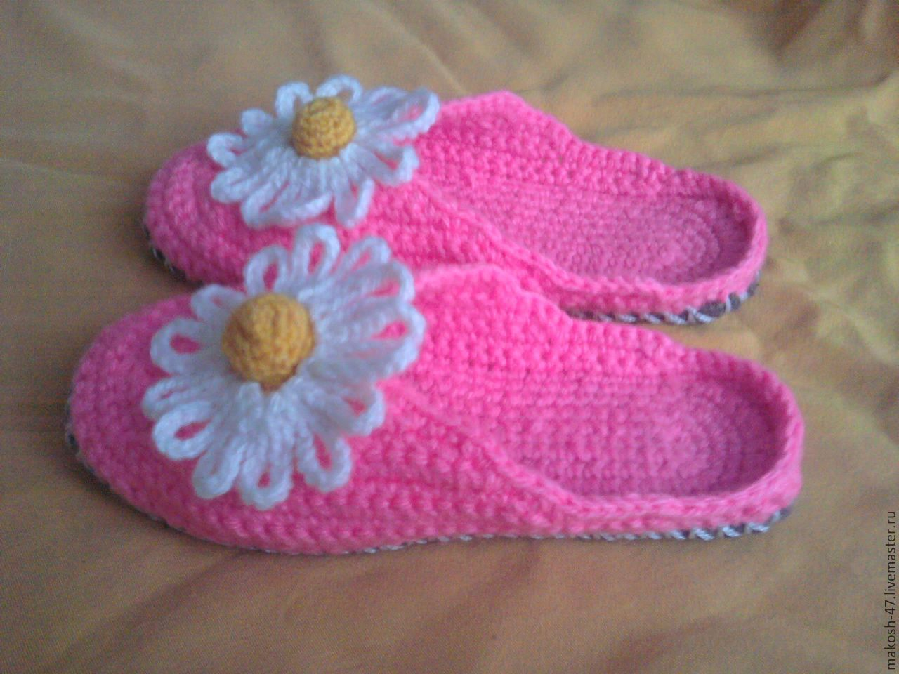 Buy Knitted Bedroom Slippers Flip Flops Chamomile Pink Slippers Handmad