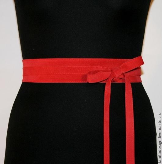 Пояса, ремни ручной работы. Замшевый пояс-кушак `Scarlet 4`. Lanita Design. Ярмарка Мастеров.