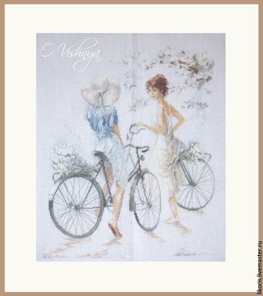 """Люди, ручной работы. Ярмарка Мастеров - ручная работа. Купить Вышитая картина """"Велосипедистки"""".. Handmade. Картина в подарок, Вышитая картина"""
