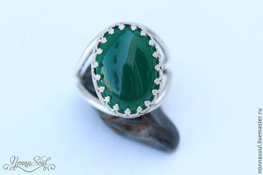 Серьги ручной работы. Ярмарка Мастеров - ручная работа. Купить Серебряное кольцо с зеленым агатом. Handmade. Зеленый, кольцо с камнем
