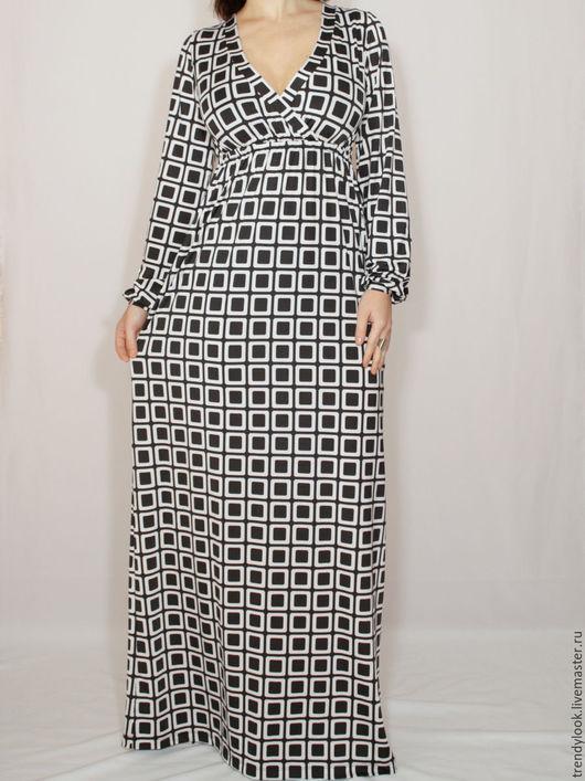 Платья ручной работы. Ярмарка Мастеров - ручная работа. Купить Черно-белое платье в пол,Платье с длинным рукавом,принт квадраты. Handmade.