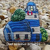 Украшения handmade. Livemaster - original item Brooch knitted lighthouse. The caretaker`s house brooch embroidered house lighthouse. Handmade.