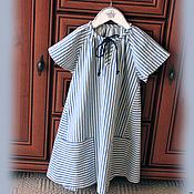 Работы для детей, ручной работы. Ярмарка Мастеров - ручная работа Платье для девочки в морском стиле.. Handmade.